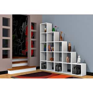 Biblioteca Perle, alb, 160 x  22 x 160 cm