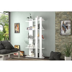 Biblioteca Tiny, alb, 75 x 22 x 150 cm