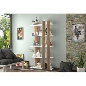 Biblioteca Tiny, alb-nuc, 75 x 22 x 150 cm