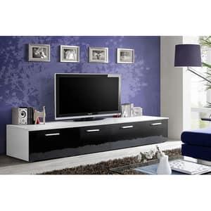 Set 2 comode TV GENAROM Duo 23 WS DU, alb-negru lucios, 200 x 45 x 35 cm