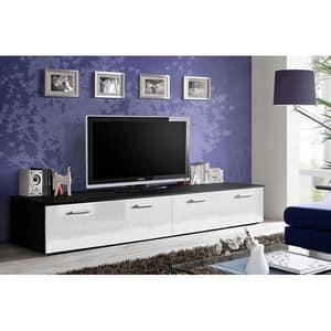 Set 2 comode TV GENAROM Duo 23 ZW DU, negru-alb lucios, 200 x 45 x 35 cm