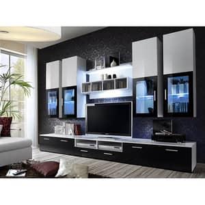 Mobila living GENAROM Lyra 20 WZ LY, alb lucios-negru lucios, 300 x 45 x 190 cm