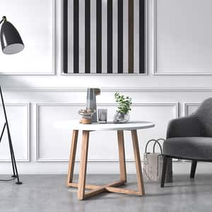 Masuta cafea Mare Loom, alb, 80 x 80 x 53 cm