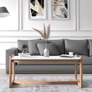 Masuta cafea Flow, alb, 116 x 58 x 46 cm