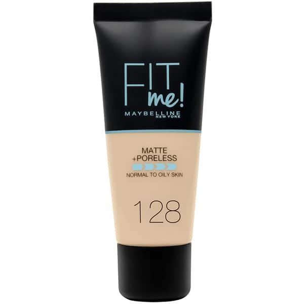 Fond de ten MAYBELLINE NEW YORK Fit Me Matte&Poreless, 128 Warm Nude, 30ml