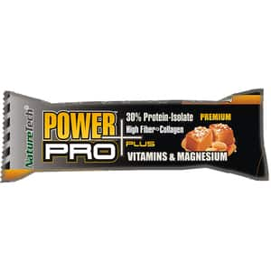 Baton energizant NATURE TECH POWER Pro Plus caramel sarat si arahide, 80g, 6 bucati