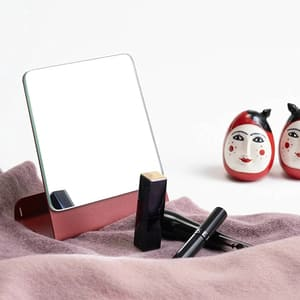 Oglinda cosmetica SPIN Halo, 15.24 x 15.24 cm, rosu caramiziu