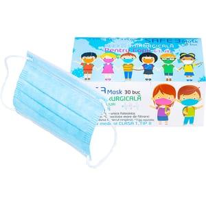 Set masti de protectie pentru copii MACRATEX, 3 straturi, 30 bucati, albastru