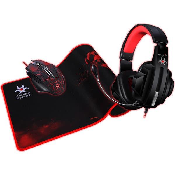 Kit Gaming 3 in 1 MYRIA MG7514, mouse, casti, mousepad, negru-rosu