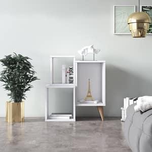 Biblioteca Mini Mabel, alb, 60 x 27 x 65 cm