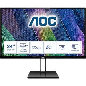 "Monitor LED IPS AOC 24V2Q, 23.8"" Full HD, 75Hz, FreeSync, Flicker Free, negru"