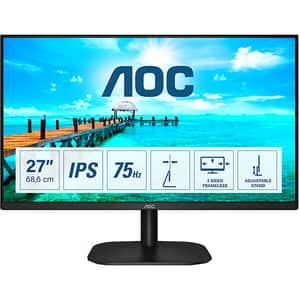 "Monitor LED IPS AOC 27B2DA, 27"" Full HD, 75Hz, AdaptiveSync, Flicker Free, negru"
