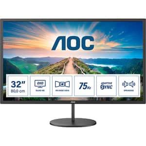 "Monitor LED IPS AOC Q32V4, 31.5"" Quad HD, 75Hz, AdaptiveSync, Flicker Free, negru"