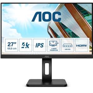 """Monitor LED IPS AOC U27P2, 27"""" Ultra HD, 60Hz, AdaptiveSync, Flicker Free, negru"""