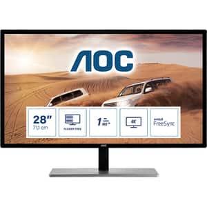 "Monitor LED TN AOC U2879VF, 28"" Ultra HD, 60Hz, FreeSync, Flicker Free, argintiu-negru"