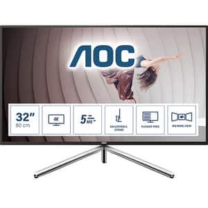 """Monitor LED IPS AOC U32U1, 31.5"""" Ultra HD, 60Hz, Flicker Free, HDR600, argintiu-negru"""