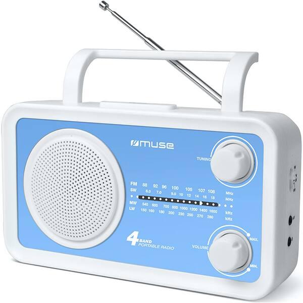 Radio portabil MUSE M-05 BL, FM, alb-albastru