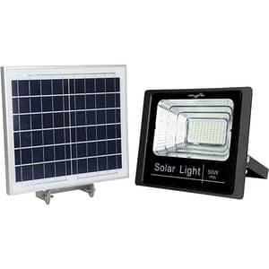 Proiector LED cu panou solar MYRIA MY2246, 50W, 3500 lumeni, IP65, argintiu