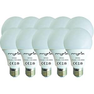 Set 10 becuri LED MYRIA MY2261, 12W, E27, 3000K, lumina calda