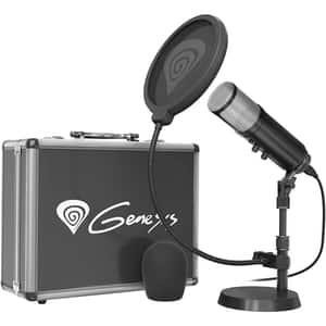 Microfon condensator NATEC Genesis Radium 600, Jack 3.5 mm, USB, negru