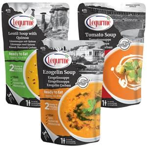 Mix Supa de linte cu quinoa +  Supa de linte rosie cu bulgur (Ezogelin) + Supa de rosii LEGURME, 250g, 3 bucati