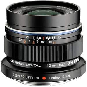 Obiectiv foto OLYMPUS M.ZUIKO Digital ED 12mm f/2.0, negru