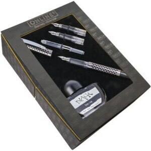 Set stilou, penite, convertor si calimara ONLINE Chess Stone, negru-argintiu