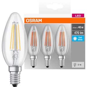 Set de 3 becuri LED OSRAM FIL40, 4W, E14, lumina neutra