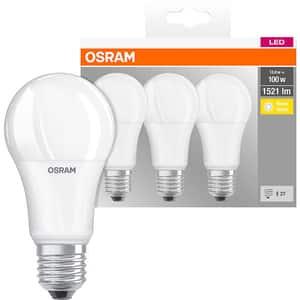 Set 3 becuri LED OSRAM A100, E27, 13W, lumina calda