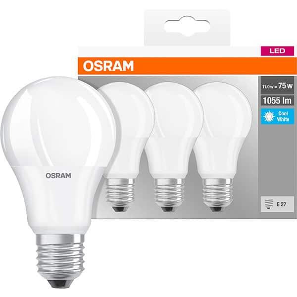 Set 3 becuri LED OSRAM A75, E27, 10W, lumina neutra