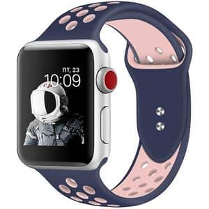 Bratara pentru Apple Watch 38mm/40mm, PROMATE Oreo-38SM, silicon, Small/Medium, albastru-roz