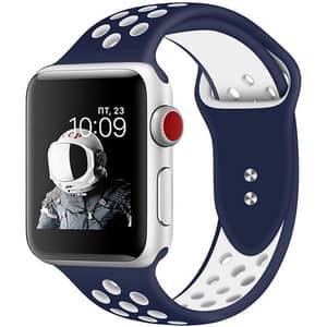 Bratara pentru Apple Watch 38mm/40mm, PROMATE Oreo-38SM, silicon, Small/Medium, albastru-alb