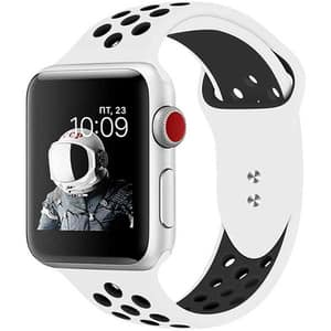 Bratara pentru Apple Watch 42mm/44mm, PROMATE Oreo-42ML, silicon, Medium/Large, alb-negru