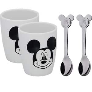 Set 2 pahare WMF Mickey Mouse, sticla + 2 linguri