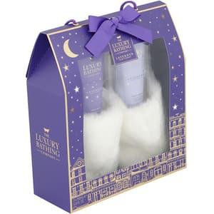 Set cadou THE LUXURY BATHING COMPANY Starry Night: Crema pentru picioare, 150ml + Sapun pentru picioare, 150ml + Papuci