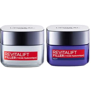 Pachet promo L'OREAL PARIS: Crema de zi Revitalift Filler, 50ml + Crema de noapte Revitalift Filler, 50ml