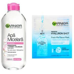 Pachet promo GARNIER Skin Naturals: Apa micelara, 400ml + Masca de fata, 33g