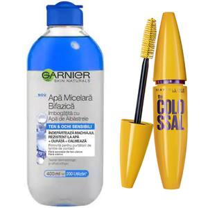Pachet promo Mascara MAYBELLINE NEW YORK The Colossal volum colosal, Black, 10.7ml + Apa micelara bifazica cu apa de albastrele Garnier Skin Naturals, 400ml