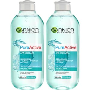 Set Garnier Skin Naturals: Apa micelara Pure Active, 2buc, 400ml