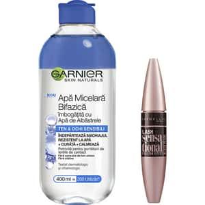 Set GARNIER Skin Naturals: Apa micelara bifazica cu apa de albastrele, 400ml + Mascara MABELLYNE Lash Sensational, Black, 9.5ml