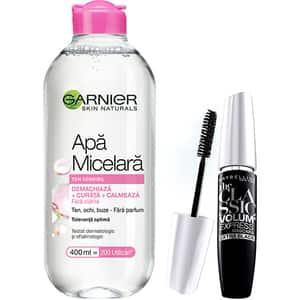 Set GARNIER Skin Naturals: Apa micelara pentru ten sensibil, 400ml + Mascara MAYBELLINE The Classic Volume Express, Black, 10ml