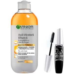 Set GARNIER Skin Naturals: Apa micelara bifazica cu ulei de argan, 400ml + Mascara MAYBELLIN The Classic Volume Express, Black, 10ml