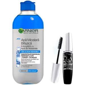 Set GARNIER Skin Naturals: Apa micelara bifazica cu apa de albastrele, 400ml + Mascara MABELLYNE The Classic Volume Express, Black, 10ml