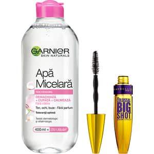 Set GARNIER Skin Naturals: Apa micelara pentru ten sensibil, 400ml + Mascara MAYBELLINE Colossal Big Shot, Black, 9.5ml