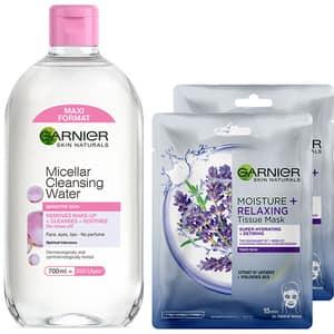 Set GARNIER Skin Naturals: Apa micelara pentru ten sensibil, 400ml + Masca de fata Hydrabomb cu lavanda, 2buc, 32g