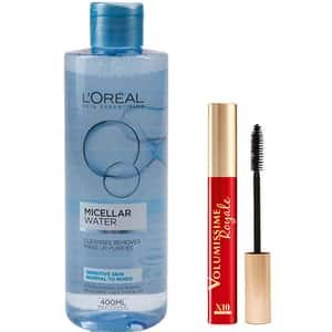 Set L'OREAL PARIS: Mascara Volumissime Royale, Black, 7.5ml + Apa micelara pentru ten normal-mixt si sensibil, 400ml
