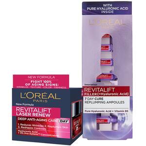Set L'OREAL PARIS: Crema de zi Revitalift Laser, 50ml + Fiole Revitalift Filler cu acid hialuronic, 7buc x 1.3ml