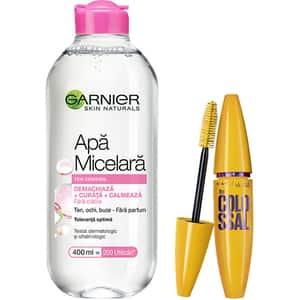 Set GARNIER Skin Naturals: Apa micelara pentru ten sensibil, 400ml + Mascara MAYBELLINE Volume Express Colossal, Black, 10.7ml