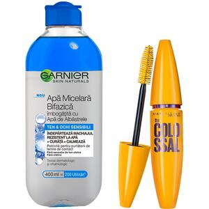 Set GARNIER Skin Naturals: Apa micelara bifazica cu apa de albastrele, 400ml + Mascara MABELLYNE Volume Express Colossal, Black, 10.7ml