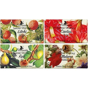 Pachet promo LA DISPENSA Florinda: Sapun cu litchi, 100g + Sapun cu floare de cactus, 100g + Sapun cu flori de Elleboro, 100g + Sapun cu smochine, 100g